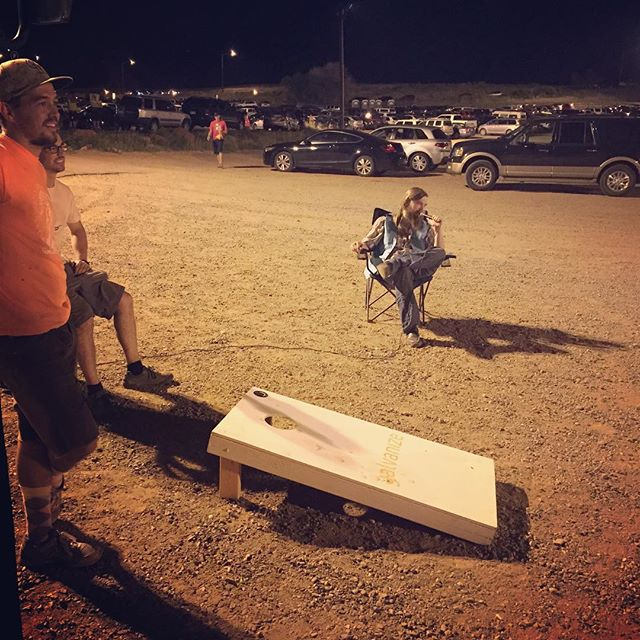 Just a little evening cornhole